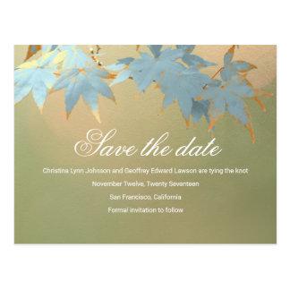 Vintage Autumn Maple Wedding Save The Date Invites Postcard