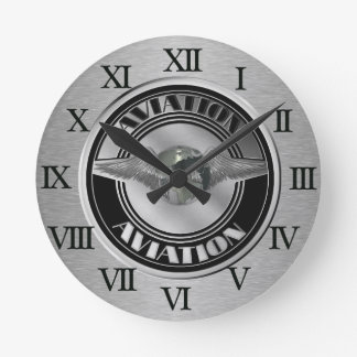 Vintage Aviation Art Round Clock