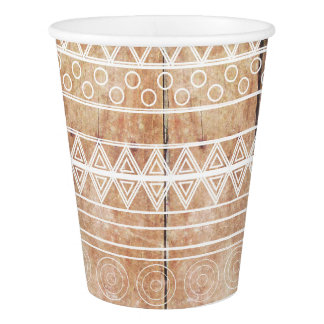Vintage Aztec Tribal Wood Paper Cup