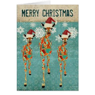 Vintage Azure & Amber Giraffes Blue Christmas Card