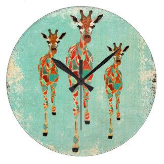 Vintage Azure & Amber Giraffes Clock