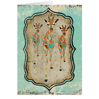 Vintage Azure & Amber Giraffes  Notecard Cards