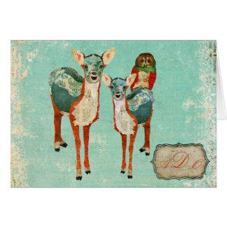 Vintage Azure Deer & Rose Owl Monogram Notecard Greeting Card