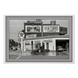Vintage B & W Garage/Gas Station Poster 13 x 19