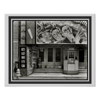 Vintage B&W Movie Theater Poster 16 x 20