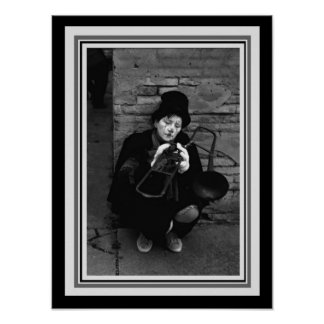 Vintage B&W Photograph-Clown with Trombone 12 x 16 Poster