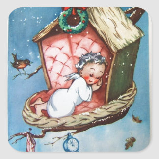 Vintage Baby Angel In Bird Nest Square Sticker