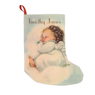 Vintage Baby Angel sleeping in Clouds Small Christmas Stocking