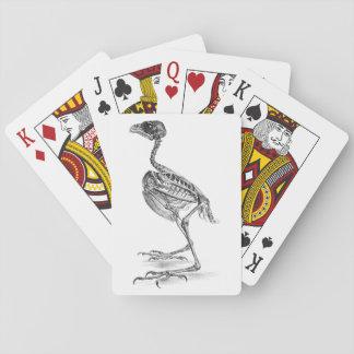 Vintage baby bird skeleton etching playing cards