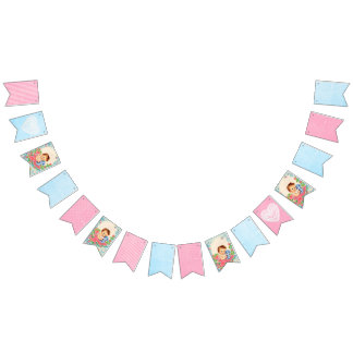 Vintage Baby Blue and Pink Shabby Garland Flags