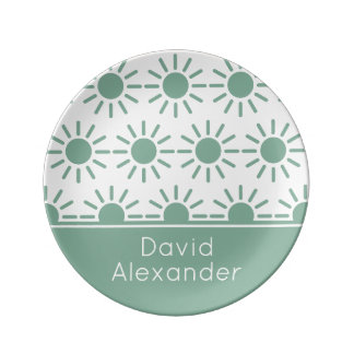 Vintage Baby Blue and White Sunbursts Personalized Plate