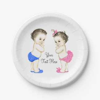 Vintage Baby Boy and Girl Twin Baby Shower Paper Plate