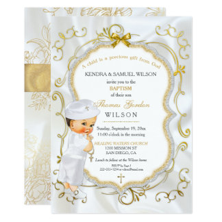 Vintage Baby Boy Baptism Gold Cross Glitter 13 Cm X 18 Cm Invitation Card