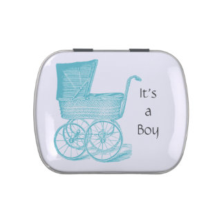 Vintage baby boy carriage candy tin