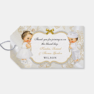 Vintage Baby Boy Girl Twins Baptism Gold Cross Gift Tags