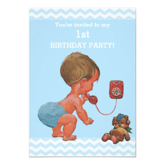 Vintage Baby Boy on Phone Chevrons 1st Birthday 13 Cm X 18 Cm Invitation Card