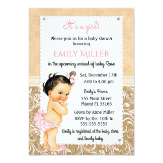 Vintage Baby Burlap Baby Shower Invitation