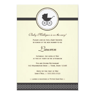 Vintage Baby Carriage Baby Shower 13 Cm X 18 Cm Invitation Card