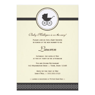 Vintage Baby Carriage Baby Shower Invitations