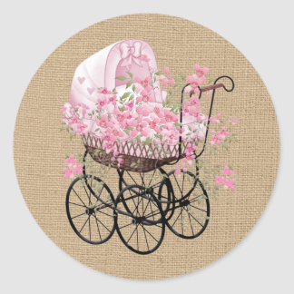 Vintage Baby Carriage on Faux Burlap Classic Round Sticker