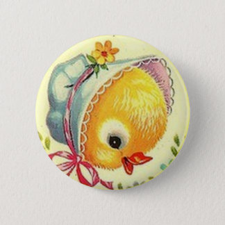 Vintage Baby Chick Easter Button Pin