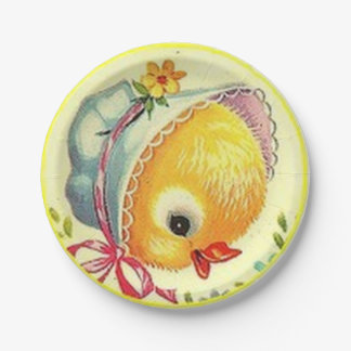 Vintage Baby Chick Easter Paper Plates