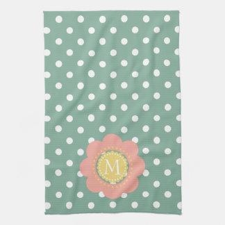 Vintage Baby Flower Monogram on Polka Dots Tea Towel