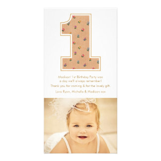 Vintage Baby Girl 1st Birthday Thank You PhotoCard Customised Photo Card