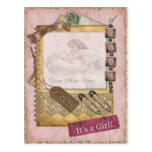 Vintage Baby Girl Arrival Announcement Photo