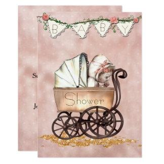 Vintage Baby Girl Baby Shower Invitation
