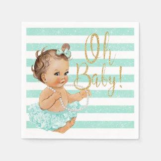 Vintage Baby Girl Ballerina Aqua Glitter Paper Napkin