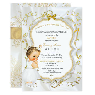 Vintage Baby Girl Baptism Gold Cross Glitter 13 Cm X 18 Cm Invitation Card