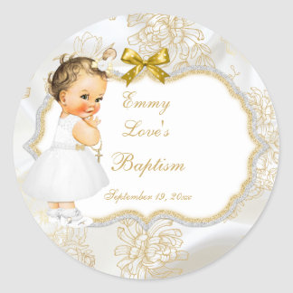 Vintage Baby Girl Baptism Gold Cross Round Sticker