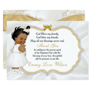 Vintage Baby Girl Baptism Gold Cross Thank You 9 Cm X 13 Cm Invitation Card
