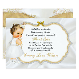 Vintage Baby Girl Baptism Gold Cross Thank You 9 Cm X 13 Cm Invitation Card