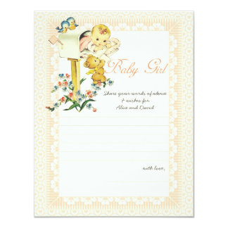 Vintage Baby Girl Mail Box Baby Shower Advice Card 11 Cm X 14 Cm Invitation Card