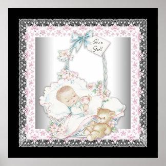 Vintage Baby Girl Teddy Bear Pink Baby Girl Poster