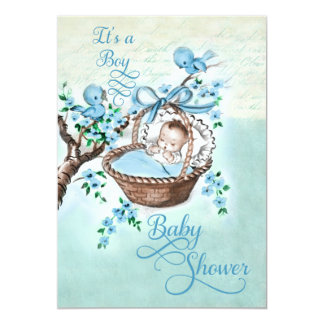 Vintage Baby in Basket and Birds Boys Baby Shower Card