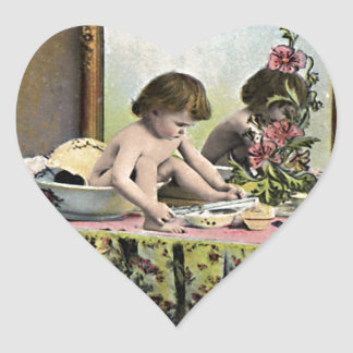 Vintage Baby On A Dressing Table Heart Sticker