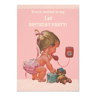 Vintage Baby on Phone Pink Chevrons 1st Birthday 13 Cm X 18 Cm Invitation Card
