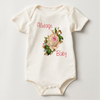 Vintage Baby Organic Body Suit with Rose Baby Bodysuit