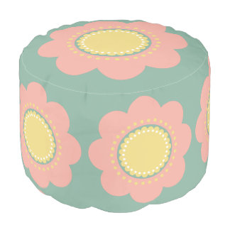 Vintage Baby Pink and Yellow Flower on Blue Pouf