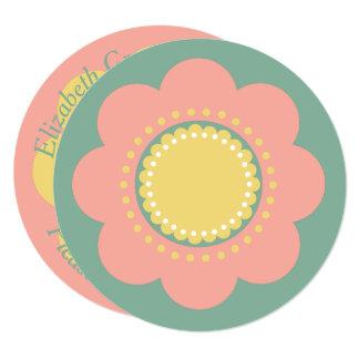 Vintage Baby Pink Flower on Blue Card