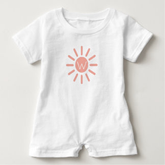 Vintage Baby Pink Sunburst on White Monogram Baby Bodysuit
