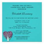 Vintage Baby Shower, Aqua Love Hearts Tree 13 Cm X 13 Cm Square Invitation Card