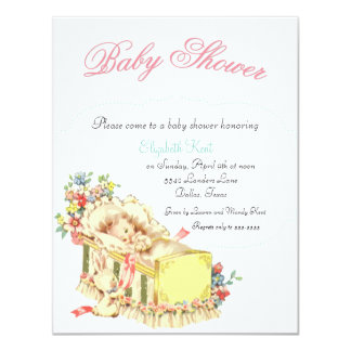 Vintage Baby Shower Baby inside Crib and Flowers Card