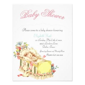 Vintage Baby Shower Baby inside Crib and Flowers Personalized Announcement