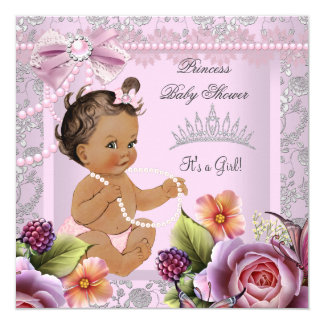 Vintage Baby Shower Brunette Girl Pink Pearl Rose Card