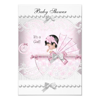 Vintage Baby Shower Cute Girl Pretty Pink 9 Cm X 13 Cm Invitation Card
