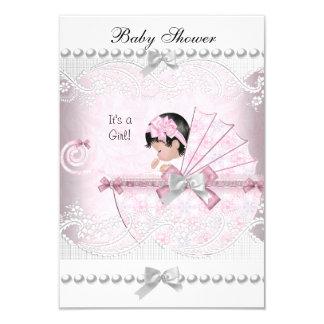 Vintage Baby Shower Cute Girl Pretty Pink 9 Cm X 13 Cm Invitation Card